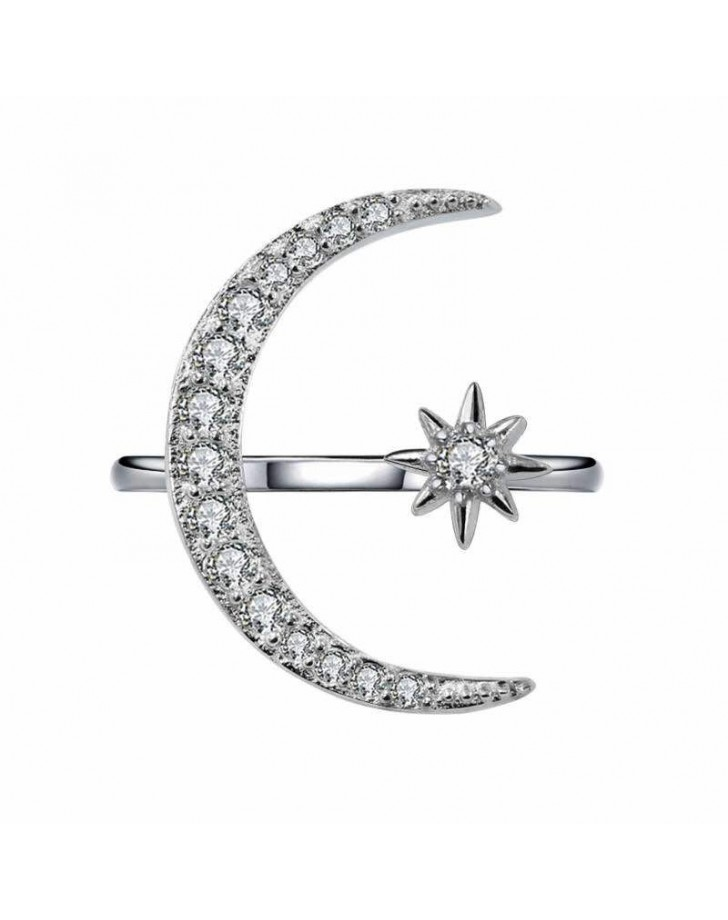 Lovely 925 Sterling Silver  Moon & Star