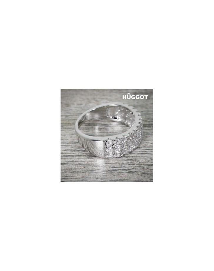 HÛGGOT KONINGIN RING VAN GEPLATEERD RHODIUM MET ZIRKONEN (16,8 mm)